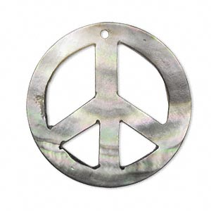 focal, black lip shell (natural), 35mm hand-cut double-sided top-drilled curved round peace sign. sold individually.