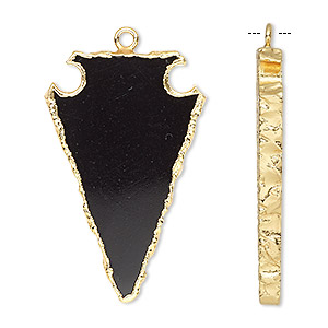 focal, black onyx (dyed) / electroplated gold / gold-finished sterling silver, 36x22mm hand-cut arrowhead. sold individually.