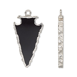 focal, black onyx (dyed) / electroplated silver / silver-plated sterling silver, 30x15mm hand-cut arrowhead. sold per pkg of 2.