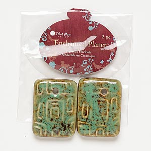 focal, blue moon beads, porcelain, honey and green, 34x25mm rectangle. pkg/2.