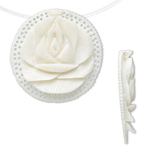 focal, bone (bleached), white, 35.5x8.5mm carved flat round with lotus design. sold individually.