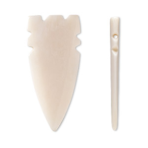 focal, bone (bleached), white, 56x24mm arrowhead, mohs hardness 2-1/2. sold per pkg of 4.