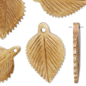 focal, bone (dyed), antiqued, 31x20mm hand-carved leaf, mohs hardness 2-1/2. sold per pkg of 6.
