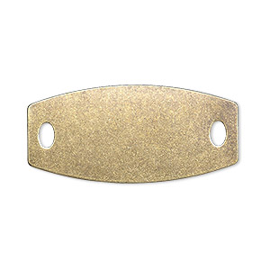 focal, brass, 35x16mm double-sided flat rounded rectangle blank with (2) 4x2mm holes. sold per pkg of 4.