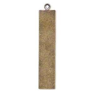 focal, brass, 37x8mm double-sided flat rectangle blank. sold per pkg of 6.