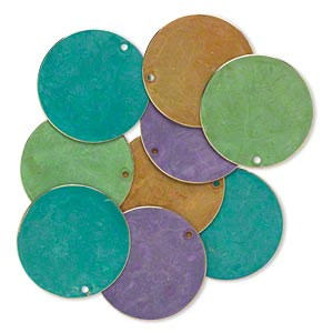 focal, brass, assorted bright patina, assorted pantone colors, 30mm double-sided flat round. sold per pkg of 8.
