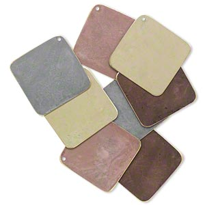 focal, brass, assorted earth-tone patina, assorted pantone colors, 40x40mm double-sided diamond. sold per pkg of 8.