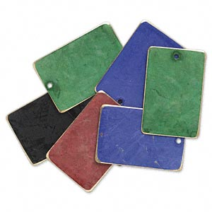 focal, brass, assorted jewel tone patina, assorted pantone colors, 30x20mm double-sided rectangle. sold per pkg of 8.