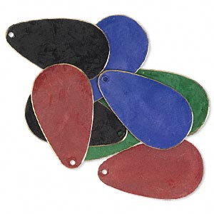 focal, brass, assorted jewel tone patina, assorted pantone colors, 34x20mm double-sided teardrop. sold per pkg of 8.