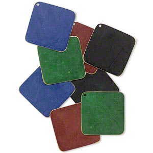 focal, brass, assorted jewel tone patina, assorted pantone colors, 40x40mm double-sided diamond. sold per pkg of 8.