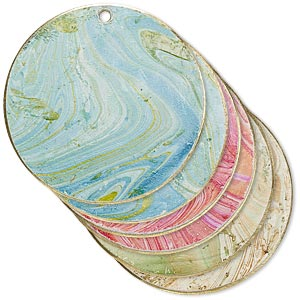 focal, brass, assorted marbled patina, 30mm double-sided flat round. sold per pkg of 6.