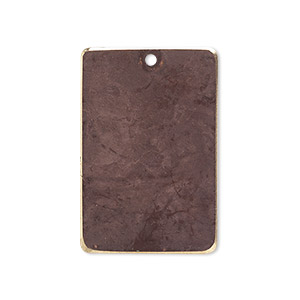 focal, brass, earth tone brown patina, pantone color 19-1321, 30x20mm double-sided rectangle. sold per pkg of 6.
