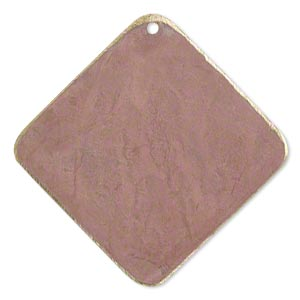 focal, brass, earth tone rust patina, pantone color 17-1516, 40x40mm double-sided diamond. sold per pkg of 6.