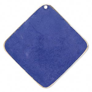focal, brass, jewel tone blue patina, pantone color 18-3932, 40x40mm double-sided diamond. sold per pkg of 6.