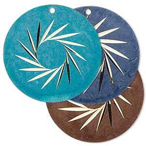 focal, brass, turquoise blue / brown / blue, 30mm single-sided diamond-cut flat round. sold per pkg of 6.