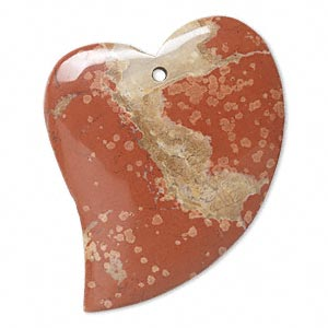 focal, brecciated jasper (natural), 49x38mm falling heart with flat back, b grade, mohs hardness 6-1/2 to 7. individually.