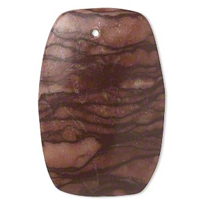 focal, brown zebra stone (natural), 44x29mm-44x31mm round puffed rectangle with flat back, c grade, mohs hardness 6-1/2 to 7. sold individually. minimum 2 per order.