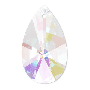 focal, celestial crystal, clear ab, 38x22mm faceted teardrop. sold individually.