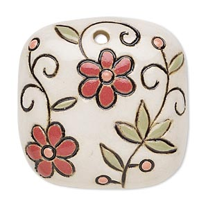 focal, ceramic, multicolored, 38x38mm single-sided domed square with flower design, 2.5mm hole. sold individually.