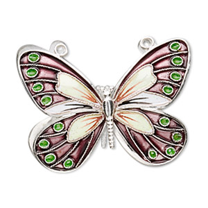 focal, cloisonne, sterling silver and enamel, purple and multicolored, 36x27mm butterfly. sold individually.