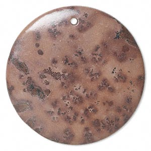 focal, crazy horse™ stone (natural), 50mm flat round, b grade, mohs hardness 3-1/2 to 4. sold individually.