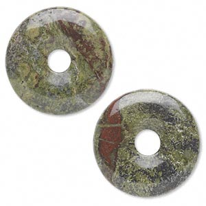 focal, dragon blood jasper (natural), 30mm round donut, b grade, mohs hardness 6-1/2 to 7. sold per pkg of 2.