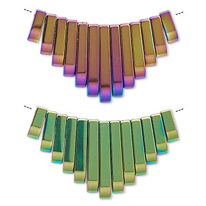 focal, electroplated hemalyke™ (man-made), rainbow, 12x4mm-30x4mm graduated fan. sold per 13-piece set.