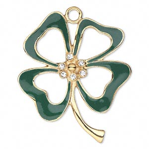 focal, enamel / swarovski crystals / gold-finished pewter (zinc-based alloy), green and crystal clear, 47x39mm single-sided open 4-leaf clover. sold individually.