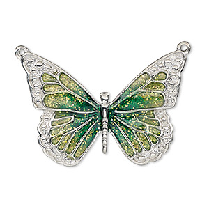 focal, enamel and imitation rhodium-plated pewter (zinc-based alloy), green and light green with glitter, 35x25mm single-sided butterfly. sold individually.