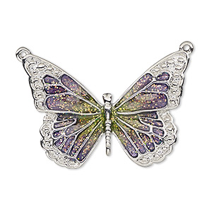 focal, enamel and imitation rhodium-plated pewter (zinc-based alloy), purple and green with glitter, 35x25mm single-sided butterfly. sold individually.