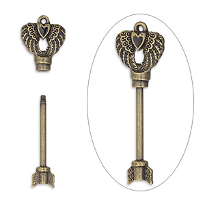focal, enamel with antique brass-finished brass and pewter (zinc-based alloy), black, 52x18mm with single-sided arrow shaft / wings / heart design and twist-off head, 25mm beadable length. sold individually.
