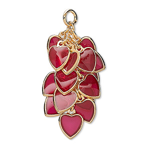focal, epoxy and gold-plated brass, red, 32x16mm heart cluster. sold per pkg of 4.