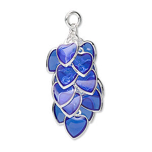focal, epoxy and silver-plated brass, blue, 32x16mm heart cluster. sold per pkg of 4.