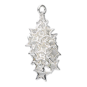 focal, epoxy and silver-plated brass, clear, 32x16mm star cluster. sold per pkg of 4.