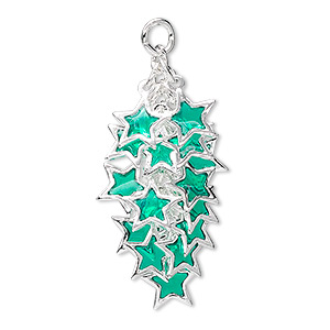 focal, epoxy and silver-plated brass, dark green, 32x16mm star cluster. sold per pkg of 4.