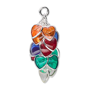 focal, epoxy and silver-plated brass, multicolored, 32x16mm heart cluster. sold per pkg of 4.