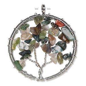 focal, fancy jasper (natural) and silver-plated brass, 55x52mm round with wire-wrapped tree design. sold individually.