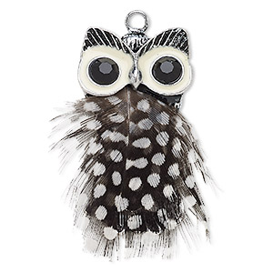 focal, feather (natural) / acrylic rhinestone / enamel / antique silver-finished steel / pewter (zinc-based alloy), white and black, 52x29mm owl. sold individually.