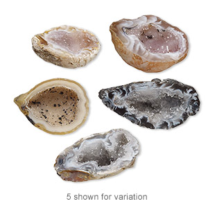 focal, geode (natural), 27x18mm-34x22mm top-drilled, half-drilled freeform slice with druzy, c grade. sold per pkg of 2.
