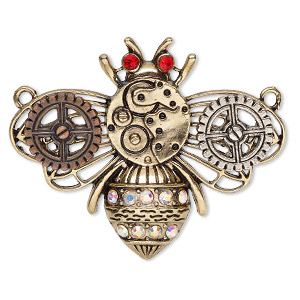 focal, glass / antique gold- / copper- / silver-finished pewter (zinc-based alloy), clear ab and red, 2x1-1/2 inch single-sided gear bee with 2 loops. sold individually.