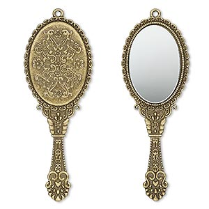 focal, glass and antique brass-plated pewter (zinc-based alloy), 70x26mm single-sided hand mirror. sold individually.