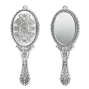 focal, glass and antique silver-plated pewter (zinc-based alloy), 70x26mm single-sided hand mirror. sold individually.