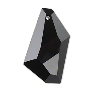 focal, glass, black, 36x19mm hand-cut faceted stellar. sold individually.