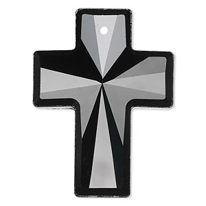focal, glass, black, 40x30mm faceted cross. sold individually.