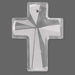 focal, glass, clear, 40x30mm faceted cross. sold individually.