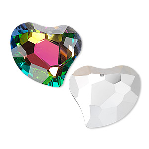 focal, glass, clear vitrail with silver-foil back, 35x31mm double-sided faceted heart. sold individually.