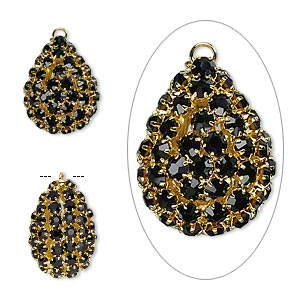 focal, glass rhinestone and gold-finished brass, black, 30x22mm double-sided teardrop with 4mm chatons. sold individually.