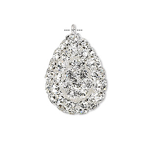 focal, glass rhinestone and silver-plated brass, clear, 30x22mm double-sided teardrop. sold individually.