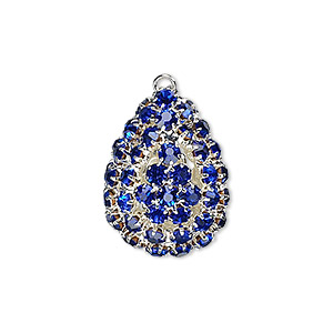 focal, glass rhinestone and silver-plated brass, cobalt, 30x22mm double-sided teardrop with 4mm chatons. sold individually.