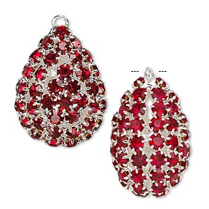 focal, glass rhinestone and silver-plated brass, ruby red, 30x22mm double-sided teardrop with 4mm chatons. sold individually.